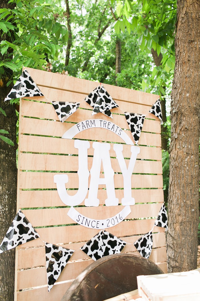 Pallet board backdrop from a Farm Birthday Party on Kara's Party Ideas | KarasPartyIdeas.com (52)