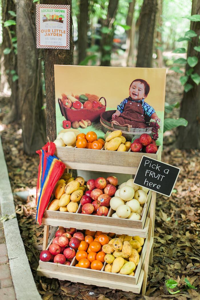 Farm fresh fruit stand from a Farm Birthday Party on Kara's Party Ideas | KarasPartyIdeas.com (12)