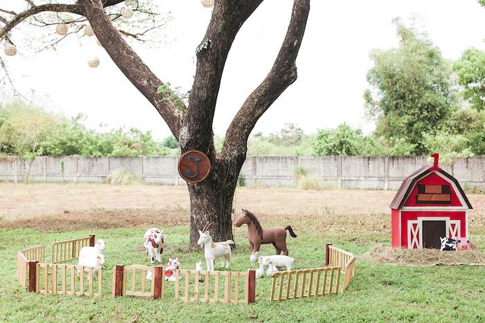 Farmyard from a Farm Birthday Party on Kara's Party Ideas | KarasPartyIdeas.com (9)
