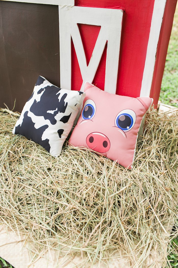 Custom farm pillows from a Farm Birthday Party on Kara's Party Ideas | KarasPartyIdeas.com (49)
