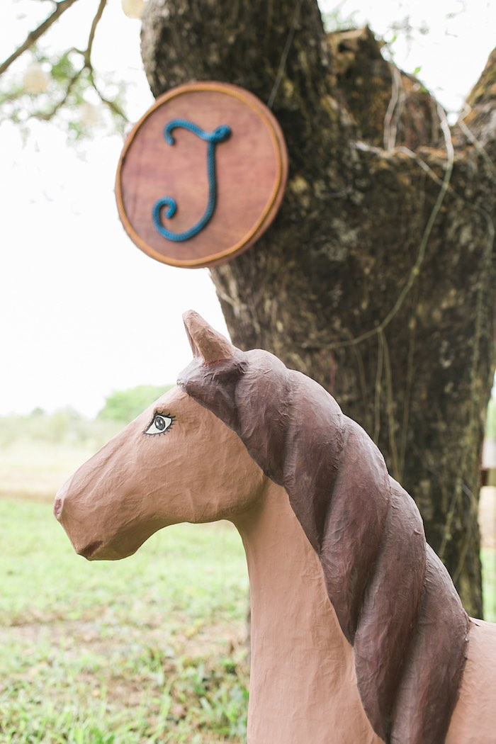 Faux horse from a Farm Birthday Party on Kara's Party Ideas | KarasPartyIdeas.com (48)