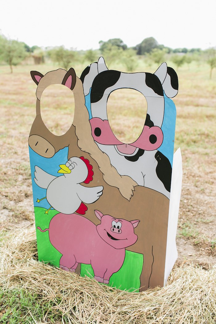 Barnyard animal photo board from a Farm Birthday Party on Kara's Party Ideas | KarasPartyIdeas.com (46)