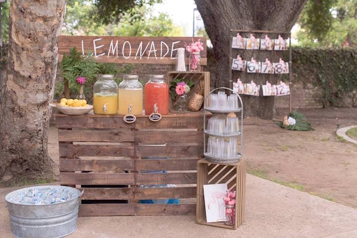 Rustic lemonade stand + beverage bar from a First Birthday Flamingle Flamingo on Kara's Party Ideas | KarasPartyIdeas.com (15)