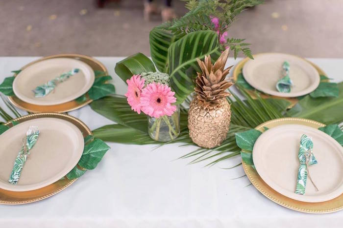 Tropical guest table from a First Birthday Flamingle Flamingo on Kara's Party Ideas | KarasPartyIdeas.com (13)