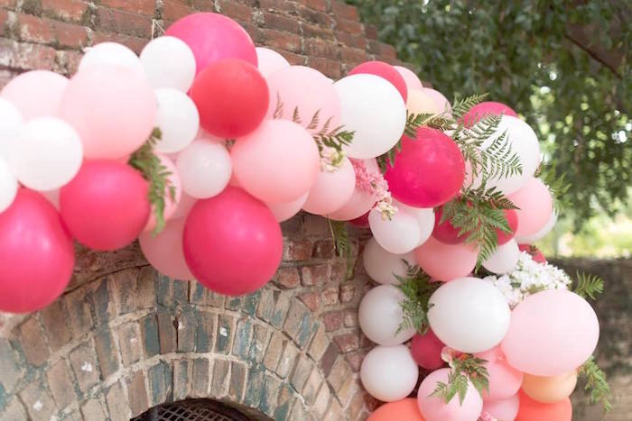 Pink & white balloon banner from a First Birthday Flamingle Flamingo on Kara's Party Ideas | KarasPartyIdeas.com (28)