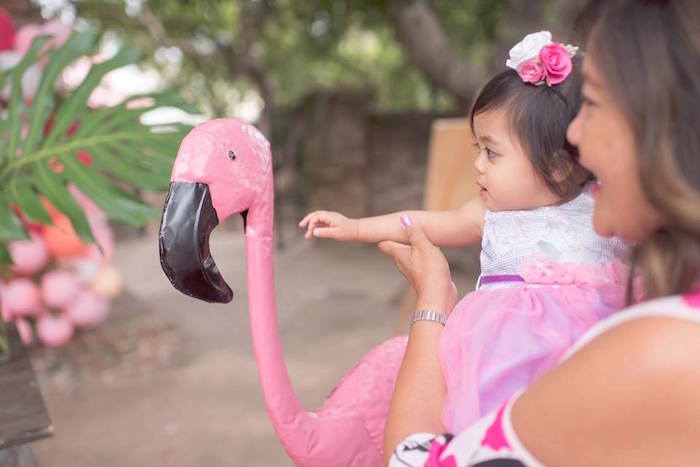 Flirting flamingo from a First Birthday Flamingle Flamingo on Kara's Party Ideas | KarasPartyIdeas.com (7)