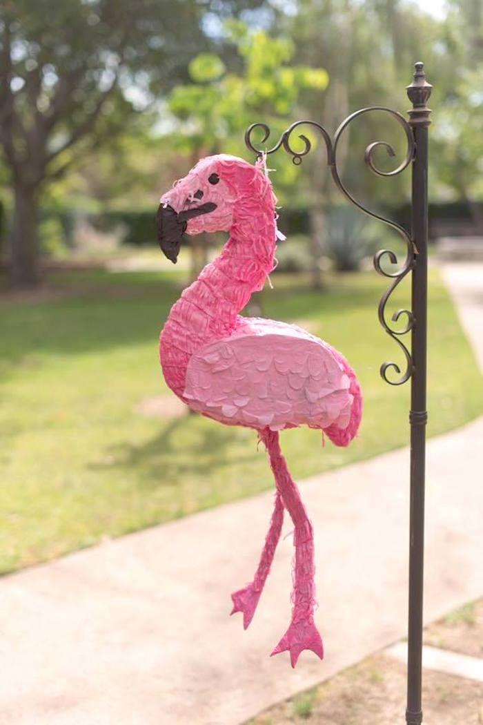 Flamingo pinata from a First Birthday Flamingle Flamingo on Kara's Party Ideas | KarasPartyIdeas.com (27)