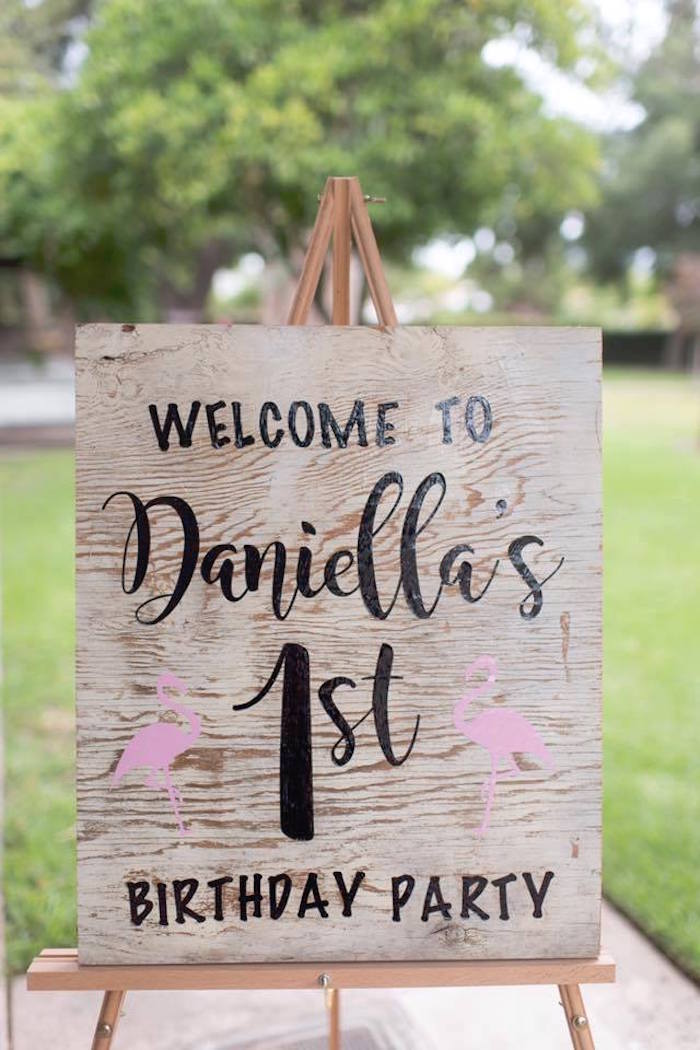Welcome sign from a First Birthday Flamingle Flamingo on Kara's Party Ideas | KarasPartyIdeas.com (23)