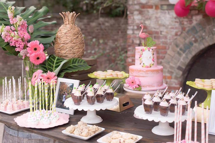 Flamingo dessert table from a First Birthday Flamingle Flamingo on Kara's Party Ideas | KarasPartyIdeas.com (20)