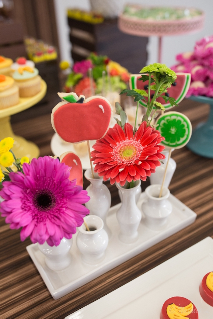 Fruit cookie pops & blooms from a Floral Farmer's Market Birthday Party on Kara's Party Ideas | KarasPartyIdeas.com (20)