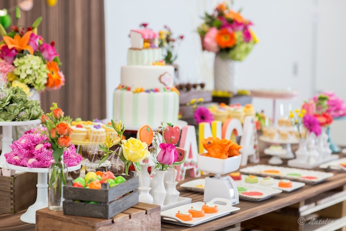 Dessert tablescape from a Floral Farmer's Market Birthday Party on Kara's Party Ideas | KarasPartyIdeas.com (11)