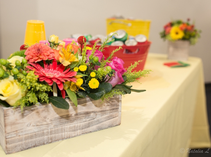 Wooden bloom box from a Floral Farmer's Market Birthday Party on Kara's Party Ideas | KarasPartyIdeas.com (29)