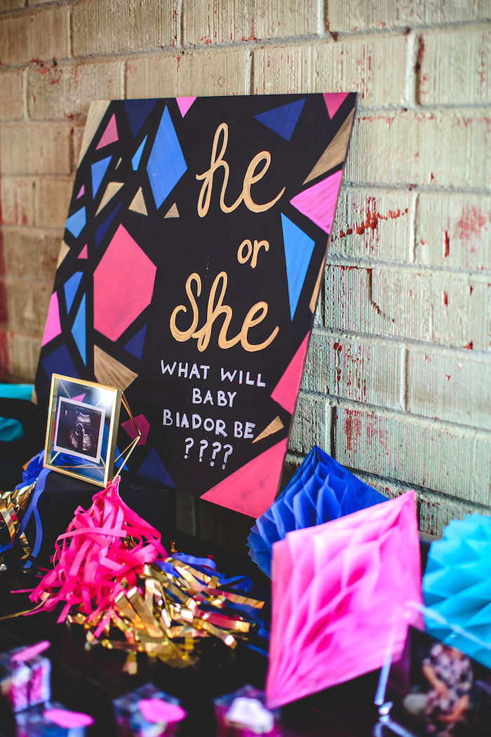 Exceptional Geometric Gender Reveal Baby Shower On Karau0027s Party Ideas |  KarasPartyIdeas.com (37)