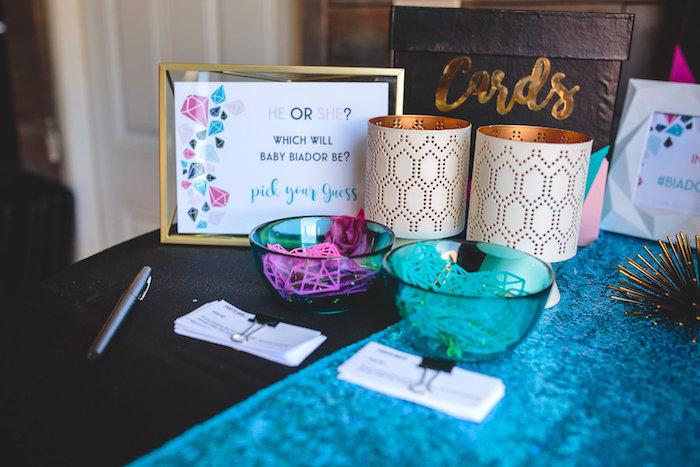 geometric gender reveal baby shower on karau0027s party ideas - Gender Reveal Baby Shower
