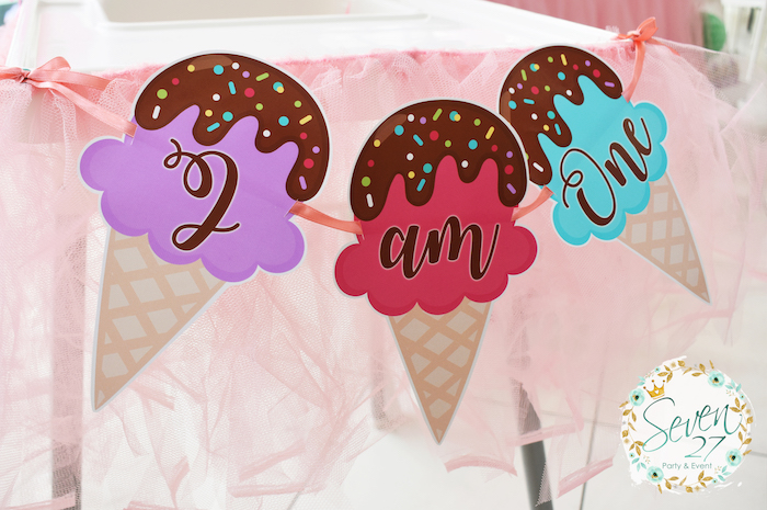Ice cream cone banner from a Girly Ice Cream Birthday Party on Kara's Party Ideas | KarasPartyIdeas.com (25)