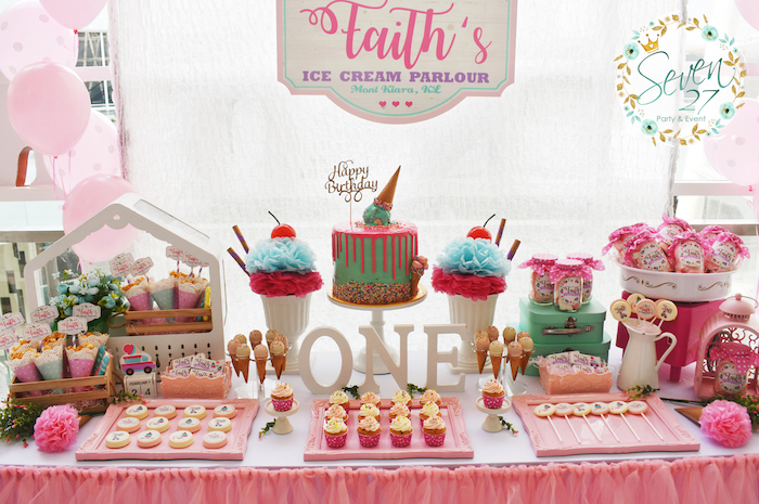 Ice Cream Dessert table from a Girly Ice Cream Birthday Party on Kara's Party Ideas | KarasPartyIdeas.com (24)