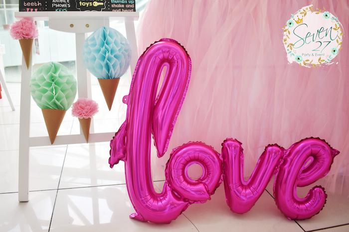 Love balloon from a Girly Ice Cream Birthday Party on Kara's Party Ideas | KarasPartyIdeas.com (23)