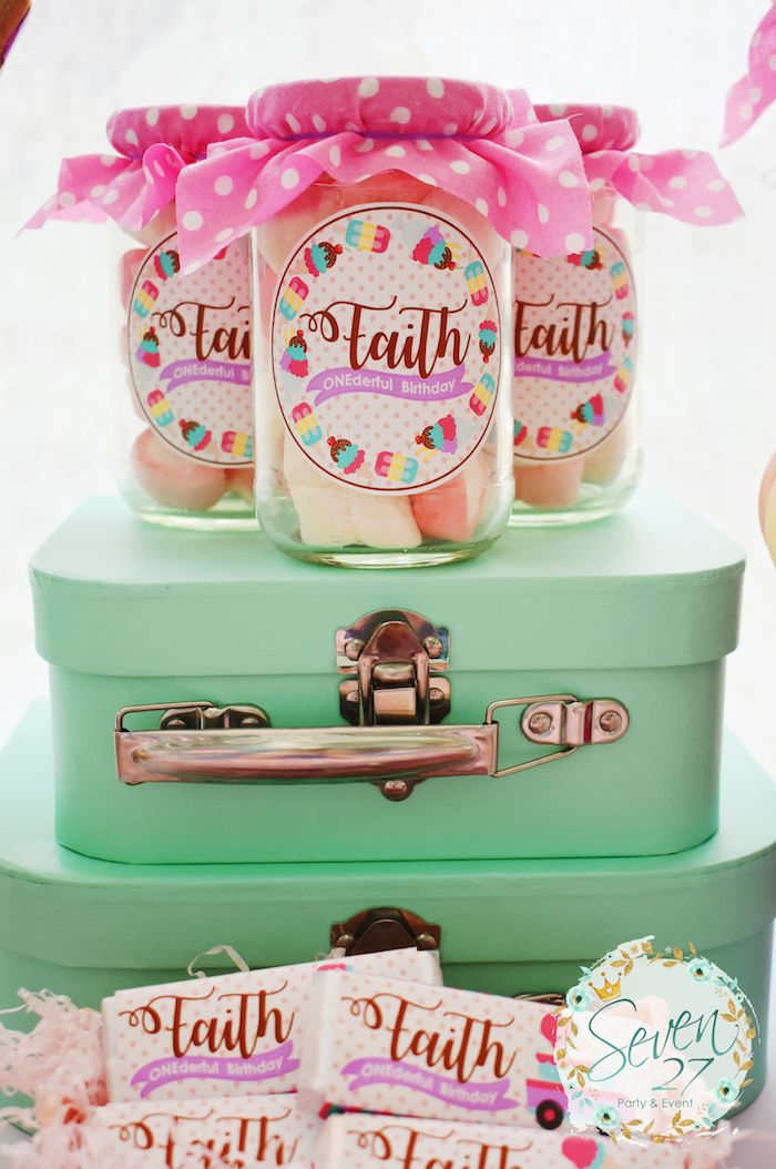 Favor jars from a Girly Ice Cream Birthday Party on Kara's Party Ideas | KarasPartyIdeas.com (20)