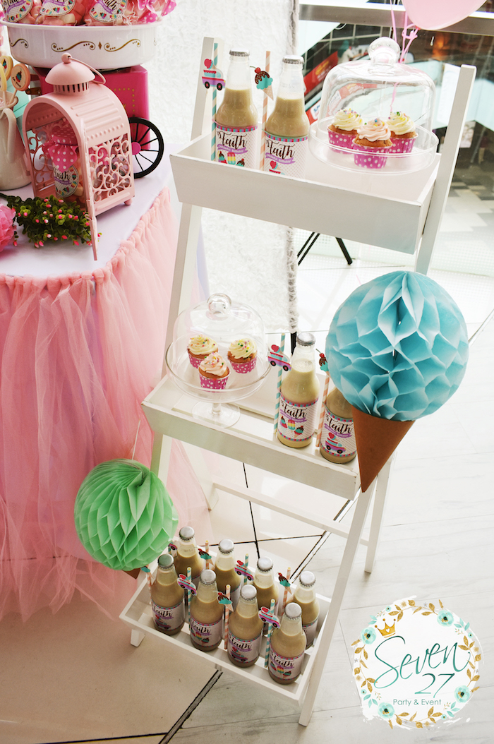 Dessert stand from a Girly Ice Cream Birthday Party on Kara's Party Ideas | KarasPartyIdeas.com (18)