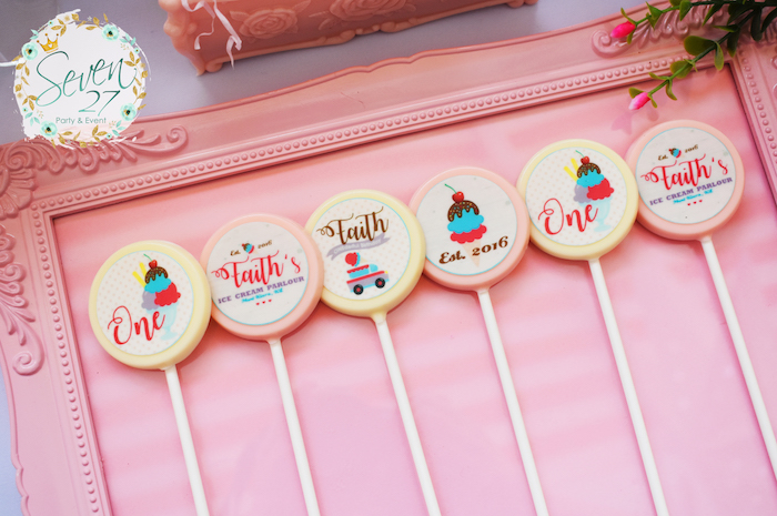 Chocolate lollipops from a Girly Ice Cream Birthday Party on Kara's Party Ideas | KarasPartyIdeas.com (17)