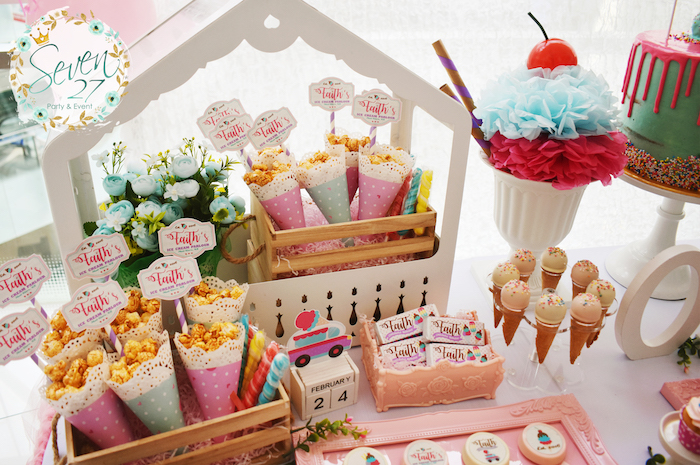 Sweet table detail from a Girly Ice Cream Birthday Party on Kara's Party Ideas | KarasPartyIdeas.com (16)
