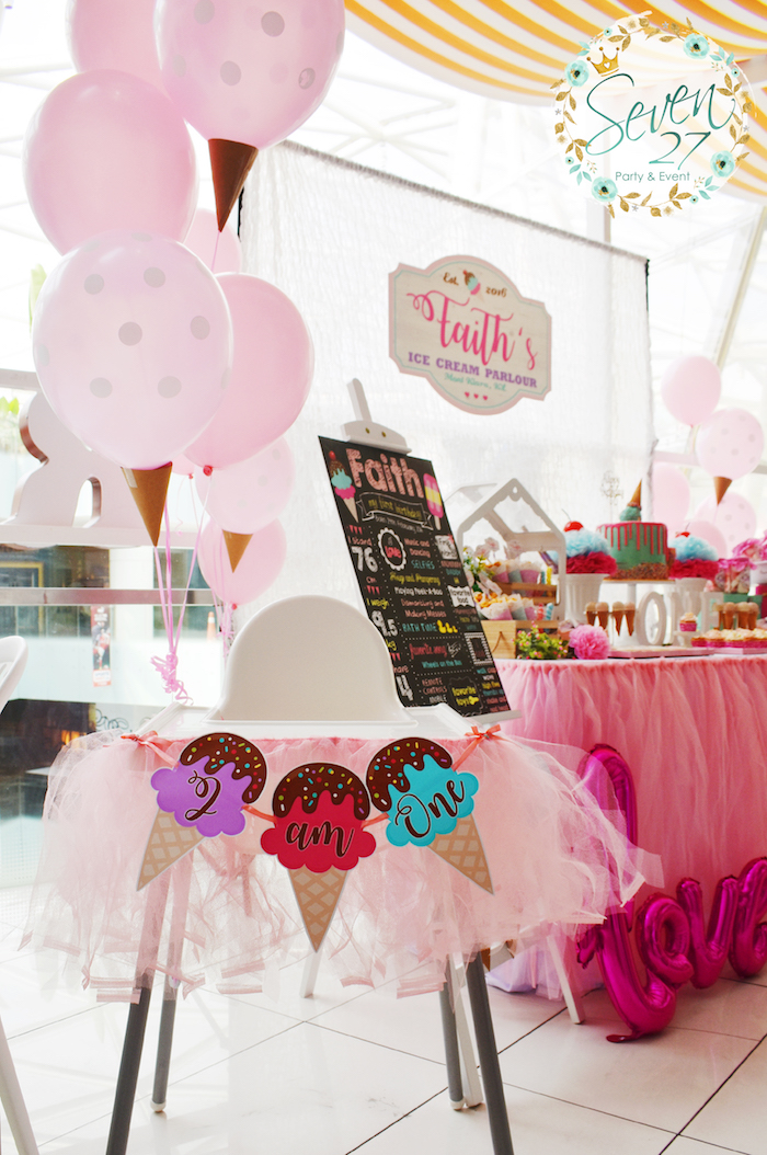 High chair from a Girly Ice Cream Birthday Party on Kara's Party Ideas | KarasPartyIdeas.com (14)