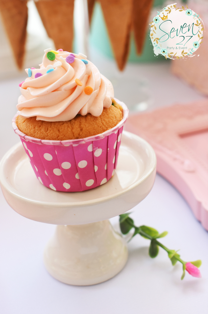 Cupcake from a Girly Ice Cream Birthday Party on Kara's Party Ideas | KarasPartyIdeas.com (11)