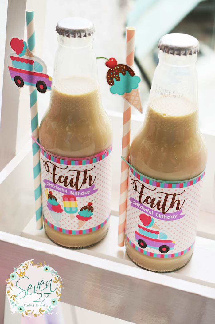 Drink bottles from a Girly Ice Cream Birthday Party on Kara's Party Ideas | KarasPartyIdeas.com (9)