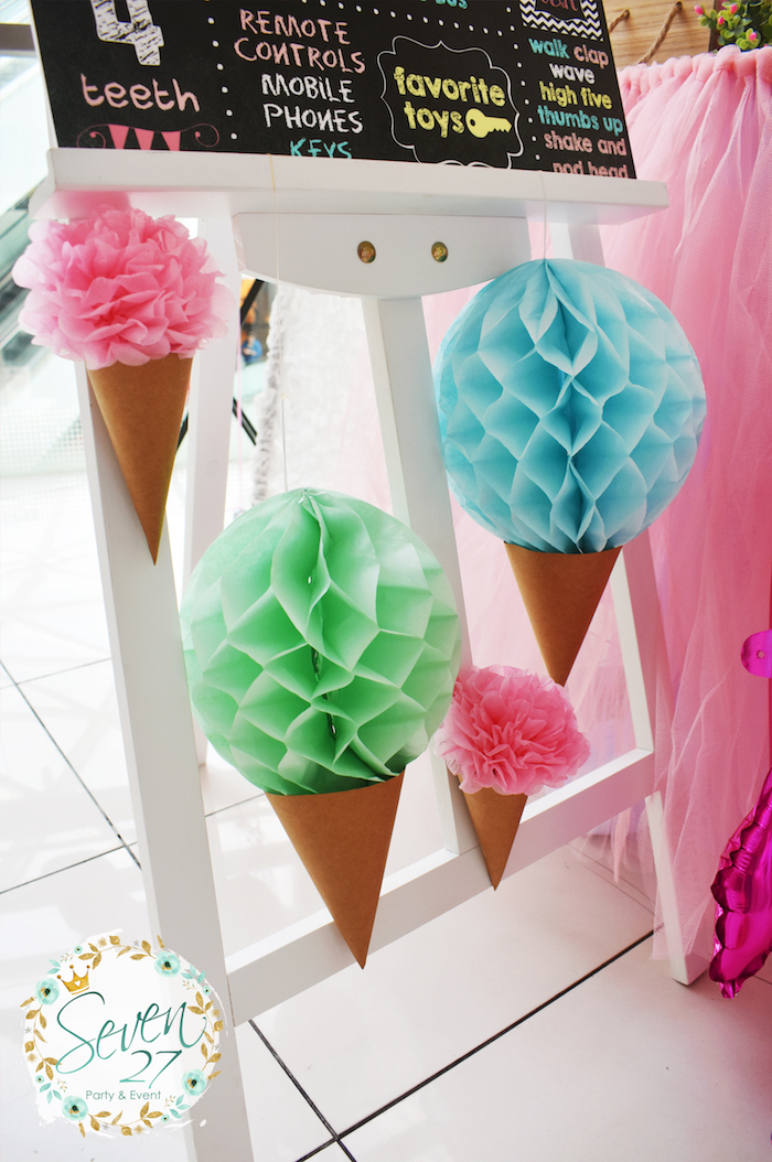 Tissue ball ice cream cones from a Girly Ice Cream Birthday Party on Kara's Party Ideas | KarasPartyIdeas.com (6)