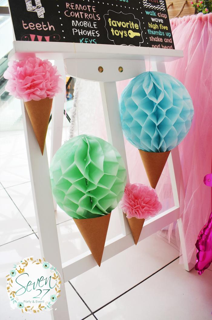 Tissue ball ice cream cones from a Girly Ice Cream Birthday Party on Kara's Party Ideas | KarasPartyIdeas.com (6)