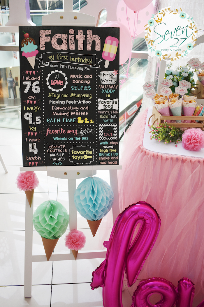 Milestone + highlight board from a Girly Ice Cream Birthday Party on Kara's Party Ideas | KarasPartyIdeas.com (33)
