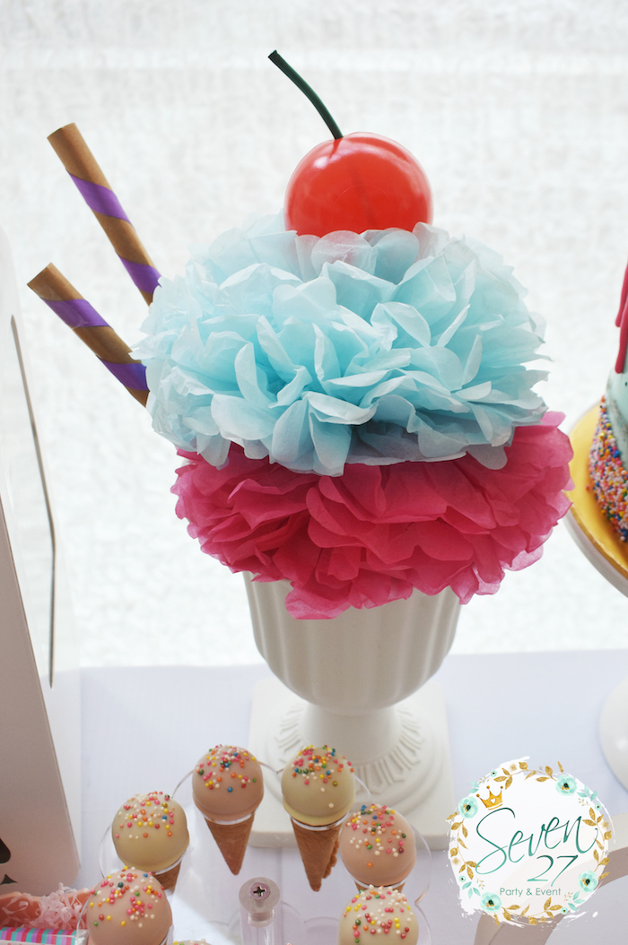 Tissue pom sundae from a Girly Ice Cream Birthday Party on Kara's Party Ideas | KarasPartyIdeas.com (31)