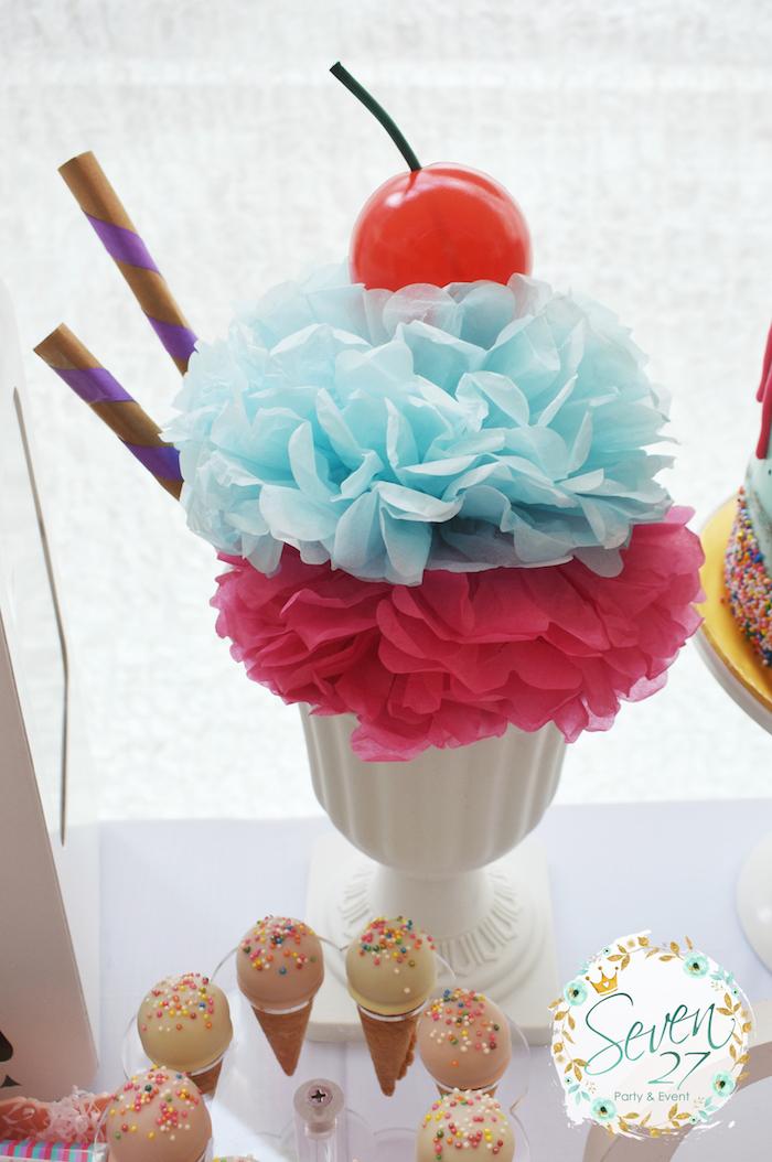 Tissue pom sundae from a Girly Ice Cream Birthday Party on Kara's Party Ideas | KarasPartyIdeas.com (31)