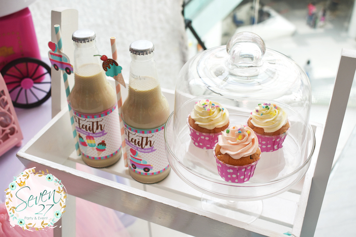 Cupcakes and drinks from a Girly Ice Cream Birthday Party on Kara's Party Ideas | KarasPartyIdeas.com (30)