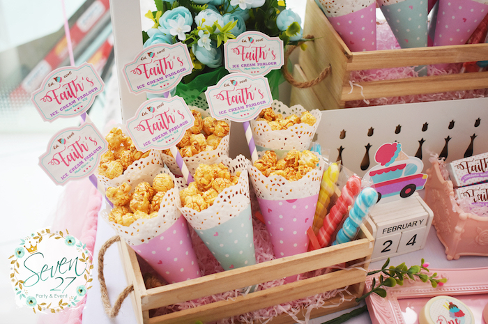 Popcorn cones from a Girly Ice Cream Birthday Party on Kara's Party Ideas | KarasPartyIdeas.com (28)