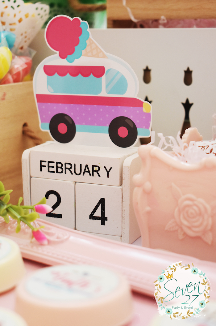 Ice cream truck decoration from a Girly Ice Cream Birthday Party on Kara's Party Ideas | KarasPartyIdeas.com (27)