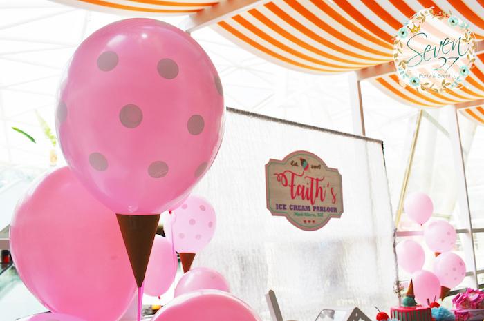 Ice cream cone balloon from a Girly Ice Cream Birthday Party on Kara's Party Ideas | KarasPartyIdeas.com (26)