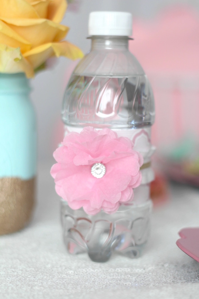 Faux flower-adorned water bottle from a Glam Spa Retreat Birthday Party on Kara's Party Ideas | KarasPartyIdeas.com (30)