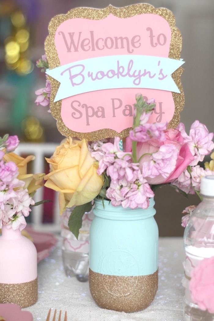 Glitter gilded mason jar floral arrangement from a Glam Spa Retreat Birthday Party on Kara's Party Ideas | KarasPartyIdeas.com (29)
