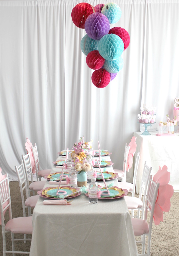 Guest table from a Glam Spa Retreat Birthday Party on Kara's Party Ideas | KarasPartyIdeas.com (21)