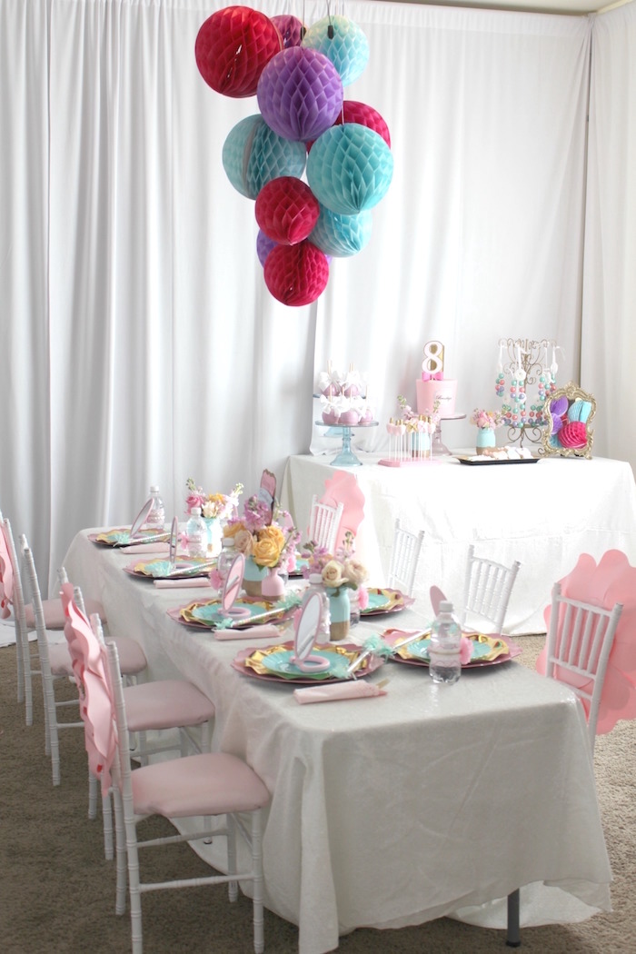 Party tables from a Glam Spa Retreat Birthday Party on Kara's Party Ideas | KarasPartyIdeas.com (20)