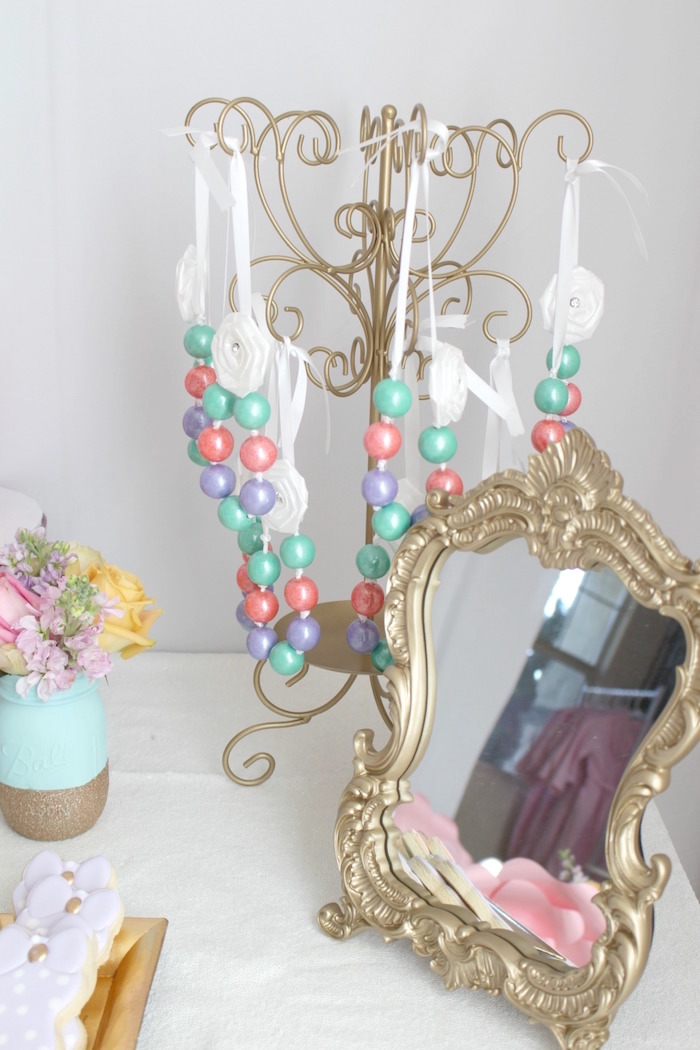 Bubble gum necklaces from a Glam Spa Retreat Birthday Party on Kara's Party Ideas | KarasPartyIdeas.com (17)