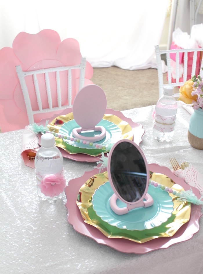 Mirror place setting from a Glam Spa Retreat Birthday Party on Kara's Party Ideas | KarasPartyIdeas.com (15)