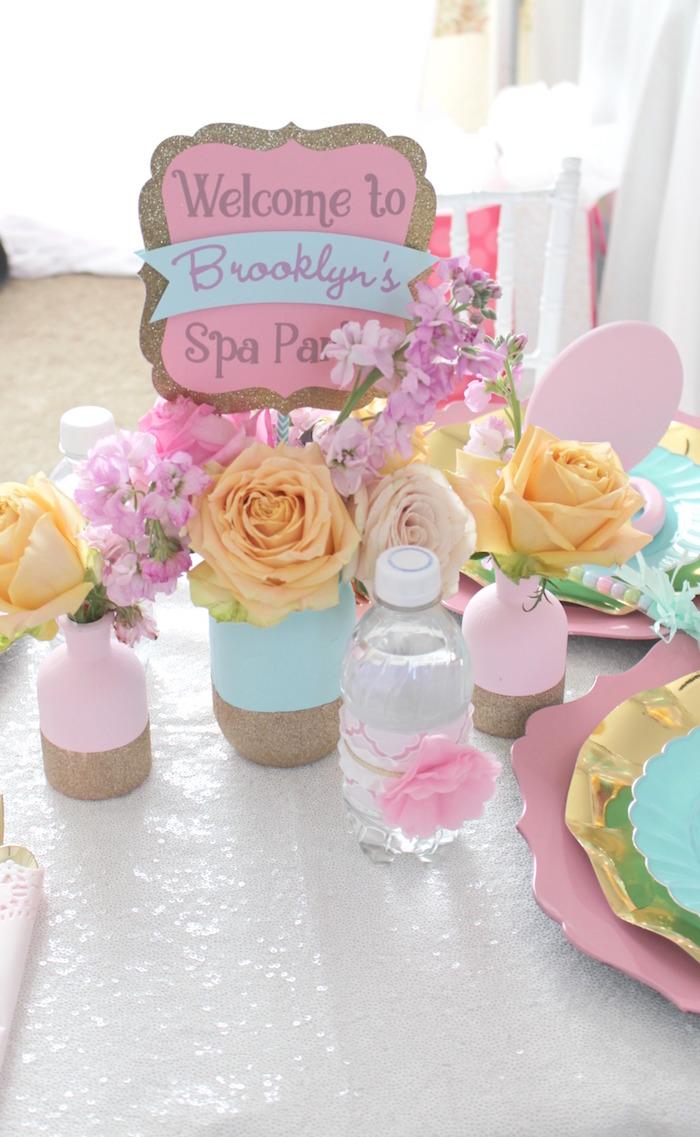 Glittered mason jar vases & blooms from a Glam Spa Retreat Birthday Party on Kara's Party Ideas | KarasPartyIdeas.com (14)