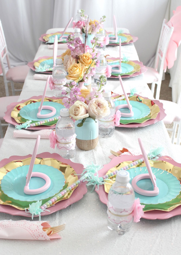 Guest tablescape from a Glam Spa Retreat Birthday Party on Kara's Party Ideas | KarasPartyIdeas.com (13)