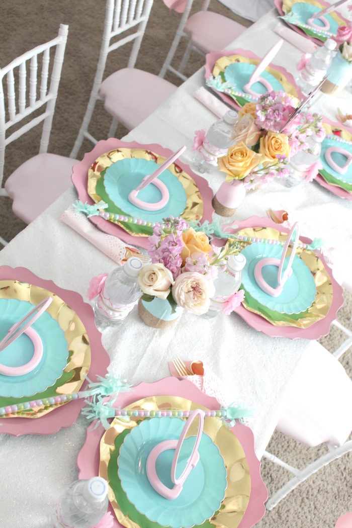 Guest tabletop from a Glam Spa Retreat Birthday Party on Kara's Party Ideas | KarasPartyIdeas.com (11)
