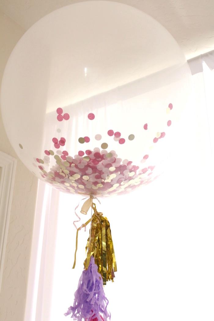 Jumbo confetti balloon with tassel tail from a Glam Spa Retreat Birthday Party on Kara's Party Ideas | KarasPartyIdeas.com (10)