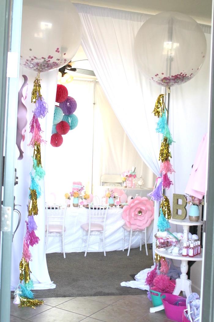 Entrance to a Glam Spa Retreat Birthday Party on Kara's Party Ideas | KarasPartyIdeas.com (8)