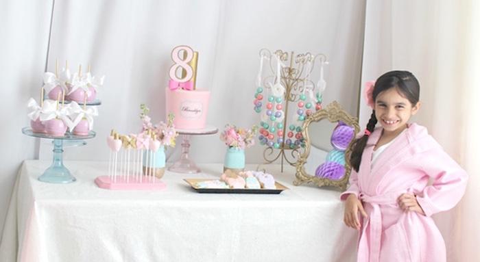 Dessert table from a Glam Spa Retreat Birthday Party on Kara's Party Ideas | KarasPartyIdeas.com (6)