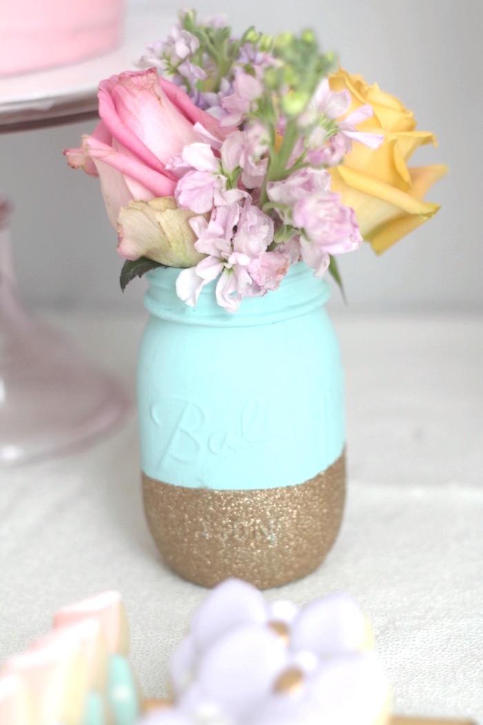 Glitter gilded mason jar centerpieces from a Glam Spa Retreat Birthday Party on Kara's Party Ideas | KarasPartyIdeas.com (33)